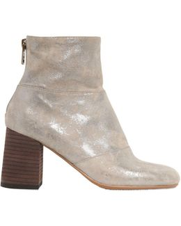 70mm Metallic Suede Ankle Boots
