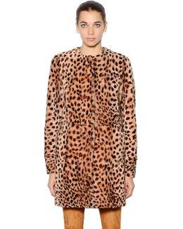 Leopard Printed Shearling Coat