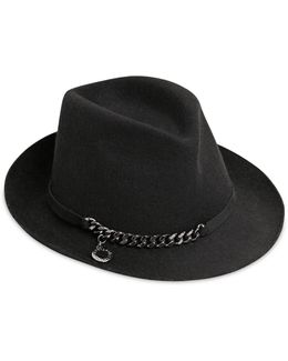 Metal Chain Wool Felt Hat