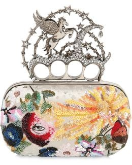 Embroidered Jeweled Knuckle Box Clutch