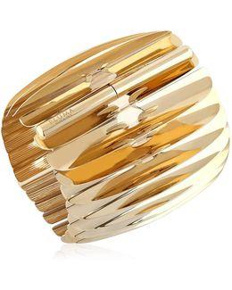 Gold Plated Fishbone Bangle
