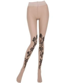 Embroidered 30 Den Microfiber Tights