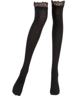 Merino Wool Rib Knit Socks W/ Lace Trim