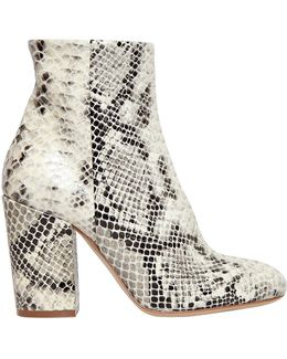 90mm Printed Snake Leather Ankle Boots