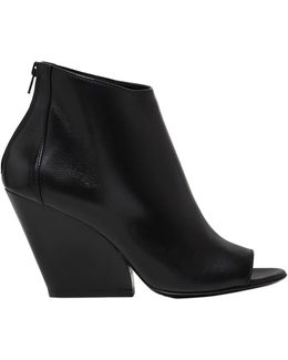 80mm Leather Open Toe Boots