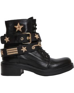 30mm Military Embroidered Leather Boots