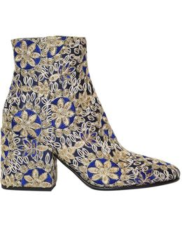 70mm Embroidered Satin Ankle Boots