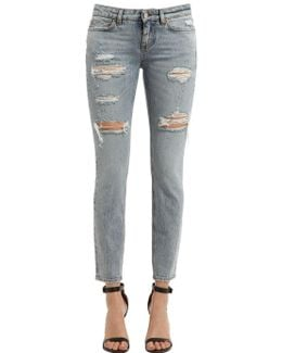 Low Raise Destroyed Denim Jeans