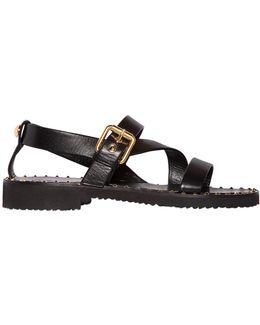 Studded Welt Brushed Leather Sandals