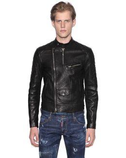 Grained Leather Biker Jacket