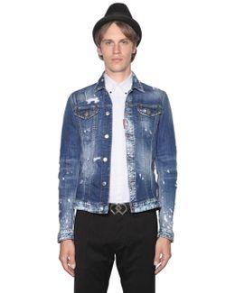 Stretch Distressed Denim Jacket