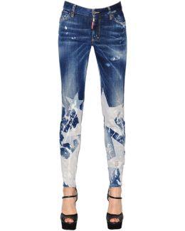 Star Washed Skinny Cotton Denim Jeans