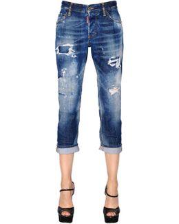 Boyfriend Washed Cotton Denim Jeans