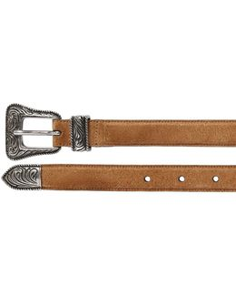 20mm Western Buckle Suede Belt