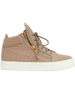 20mm Embossed Leather Mid Top Sneakers