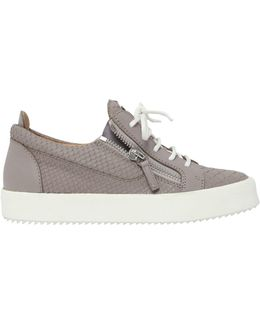 20mm Python Embossed Leather Sneakers