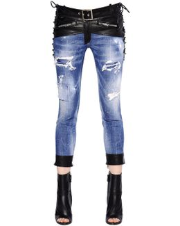 Glam Head Cotton Denim Jeans W/ Leather