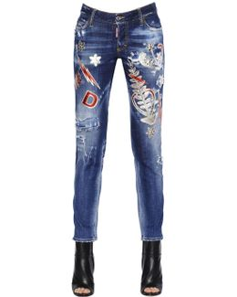 Patches Embellished Stretch Denim Jeans