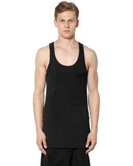 Long Cotton Jersey Tank Top With Zip