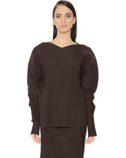 Puffed Sleeves Plisse Cotton Blend Top