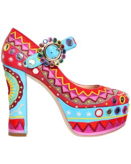 120mm Embroidered Leather Pumps