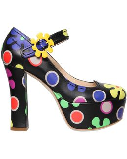 120mm Floral Printed Leather Pumps