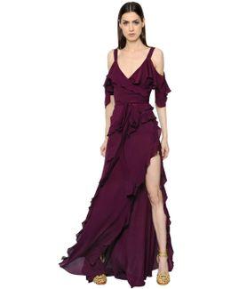 Ruffled Crepe Georgette Dress