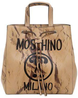 Printed Leather Bucket Shoulder Bag