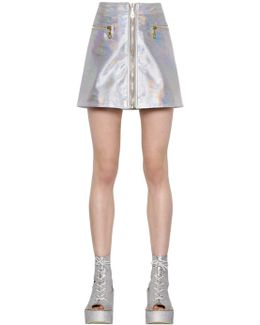 Cropped Iridescent Leather Mini Skirt