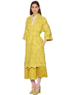 Embroidered Flowers Organza Coat