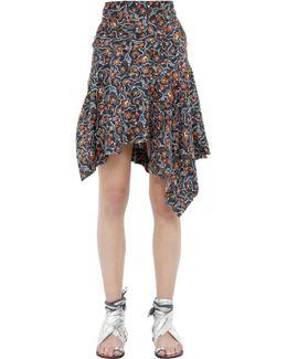 Asymmetric Floral Print Silk Midi Skirt