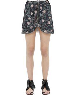 Floral Printed Cotton Mini Skirt