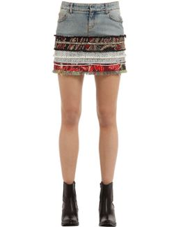 Cotton Denim & Tweed Mini Skirt