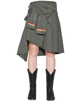 Military Cotton Canvas Shirt Skirt