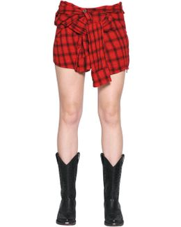 Lurex Plaid Heavy Gauze Mini Shirt Skirt