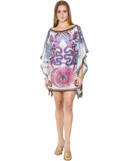 Printed Cotton Gauze Caftan Mini Dress