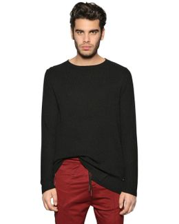 Viscose & Wool Blend Rib Knit Sweater