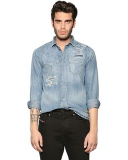 Destroyed Washed Denim Western Shirt