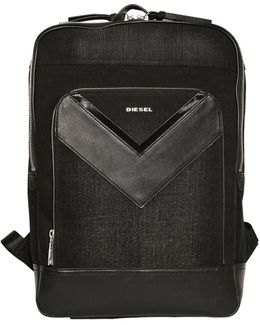 Treated Denim & Faux Leather Backpack