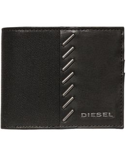 Stapled Coated Denim & Leather Wallet