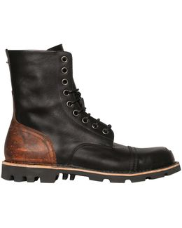 Steel Toe Two Tone Leather Lace-up Boots