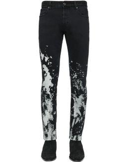 17cm Bleached Stretch Denim Jeans