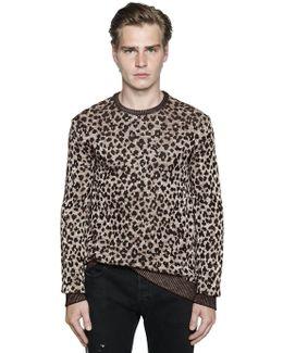 Leopard Viscose & Cotton Knit Sweater