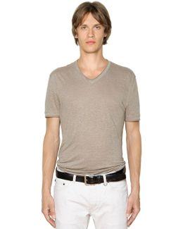 Linen Jersey V-neck T-shirt