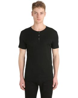Ribbed Cotton Jersey Henley T-shirt