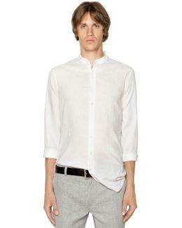Mandarin Collar Linen Canvas Shirt