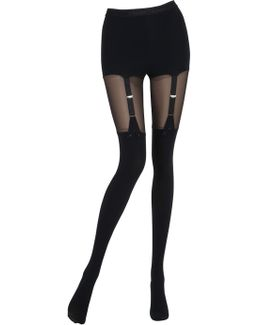 Tulle & Microfiber Garter Effect Tights