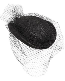 Straw Hat W/ Small Veil
