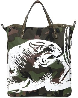 Panther Print Camo Canvas Tote Bag