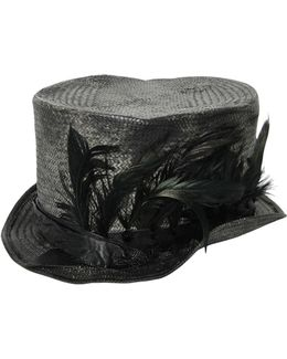 Feather Woven Straw Top Hat